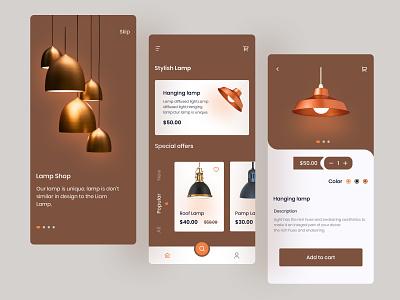 Lamp e-commerce app concept shoplamp lamp delivery app mobile app design mobile ui mobile app minimal e-commerce lamp app e-commerce lamp app lamp app lamps delivery service app design app