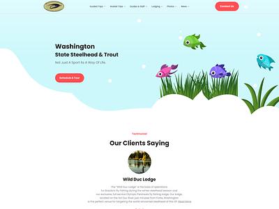 Home Page for fishing websites mockup mobile ui mobile app app clean minimal flat illustration branding vector website web typography design ux ui