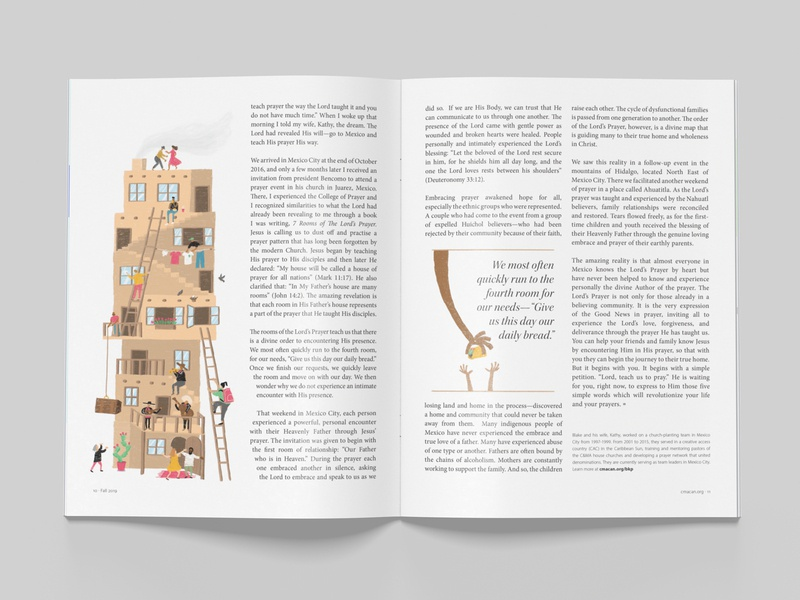 Teach Us to Pray alliance magazine illustration magazine layout