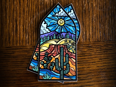 Arizona Stickers sticker arizona prescott valley flagstaff phoenix stained glass fauxstainedglass illustration