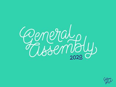 General Assembly concept #2 lettering script logo
