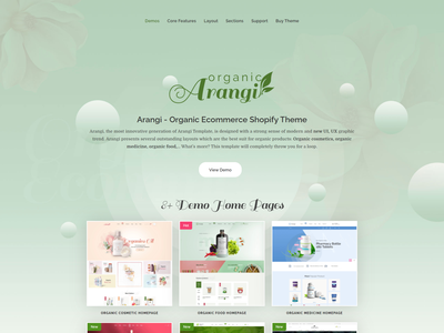 Arangi Organic Ecommerce Shopify Theme logo illustration icon animation branding ux website ui web design