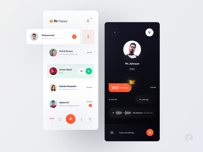 Messenger Concept Design 🤩 (Amirbaqian) messanger ui mobile design 3d application minimal app concept app design mobile ui chat chat app call dark social dailyui messenger messenger app