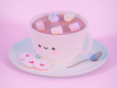 Chocolate & Cookies cuteart illustration softart render 3dillustration 3dmodelling 3dmodel 3dartist 3dart digitalart blenderart blenderartist blender3d blender cyclesrender blendercycles blenderrender b3d