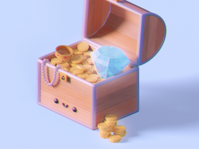 Treasure Chest 3dmodelling 3dartist 3dart cycles 3dmodel render blendercycles blender3d b3d blender
