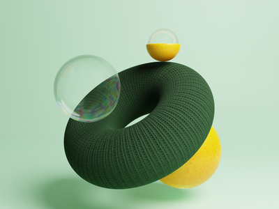 Wool bubbles 3d art wool 3d design bubbles orange 3d illustration blender 3d