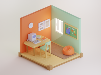 small office home office : 3d isometric isometric room isometric illustration 3d isometric isometric design isometric blender 3d art 3d 3d illustration 3d design