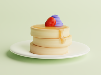 Pancake Realistic 3D Design pastry bakery cake pancake blender 3d art 3d 3d illustration 3d design