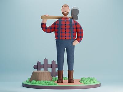 3d character : Lumberjack 3d lumberjack lumberjack character c4d 3d modeling blender 3d character 3d art 3d 3d illustration 3d design