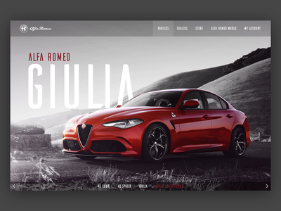 Alfa Romeo Giulia website car ui home web giulia romeo alfa