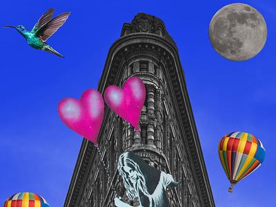 Flying Girl girl balloon design psychedelic photoshop graphicdesign graphicart