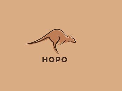 Kangaroo Logo minimal illustration icon flat logo design