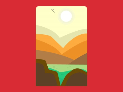 Sunny Day earth mountains illustration vector