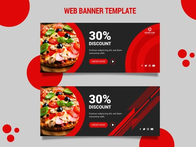 Web Banner Design for Restaurant web design ux ui design ui design mobile app design mobile app mobile minimal landing page design landing page landing design illustration food app food designer design creative cards ui blurred background branding banner design
