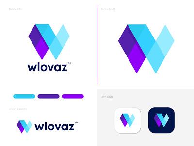 Modern W+V logo for wlovaz modern logo gfxhouse w v letter logo logotype logodesign logo designer logo mark lettermark abstract creative logo colorful overlay branding brand identity brand identity design illustration app icon