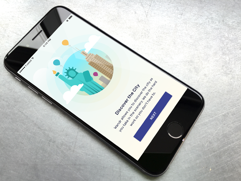 Discover New York onboarding flat wander illustration mobile ui