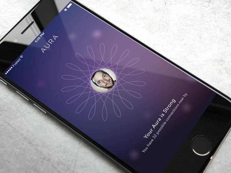 Who's Nearby? aura branding spiral purple ui