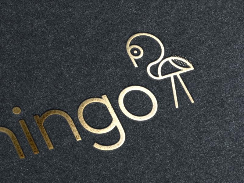 Fancy Bird inspiration foil blocked print illustration icon logo flamingo bird fancy