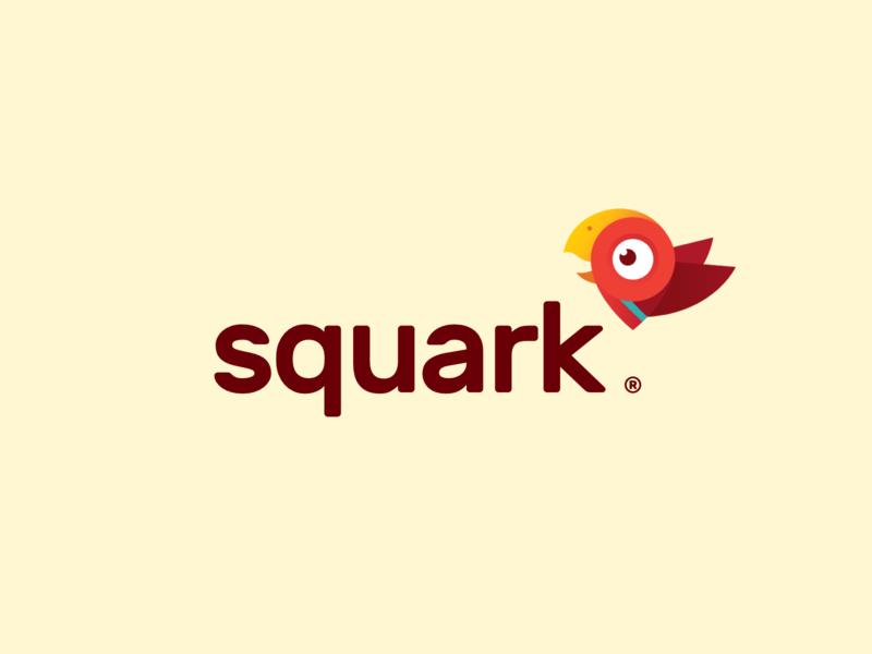 Squark character illustration design parrot icon branding logo