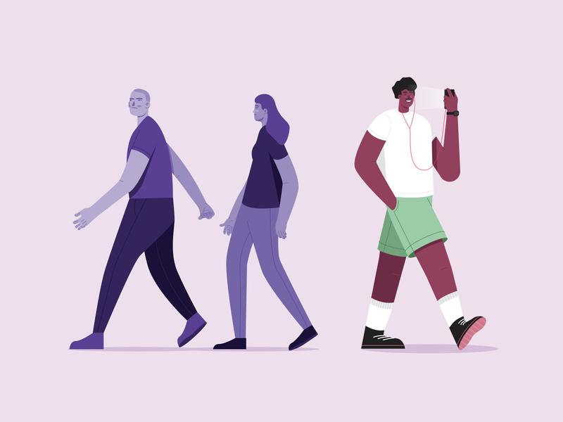 thrust colours character flat girl boy walking walk illustration design