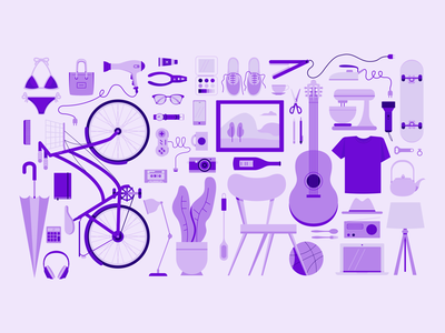 things in the house book bicycle inspiration mug square guitar clock music laptop glasses clothing camera joystick skate beauty ball house things thing illustration