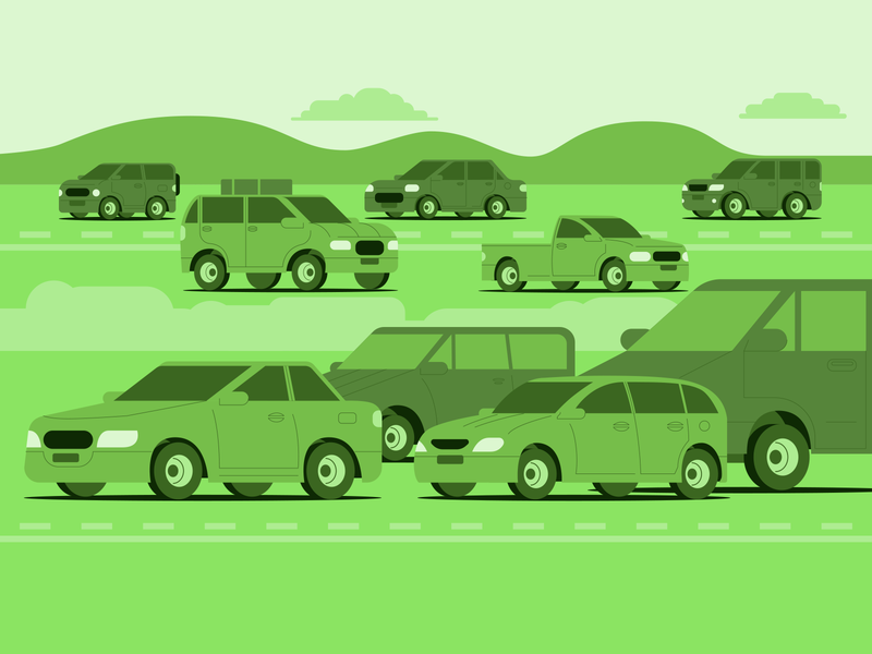 cars on a highway automobiles flat vector urban traffic vehicles vehicle high highway duotone green wheels wheel road car cars portfolio colours design illustration
