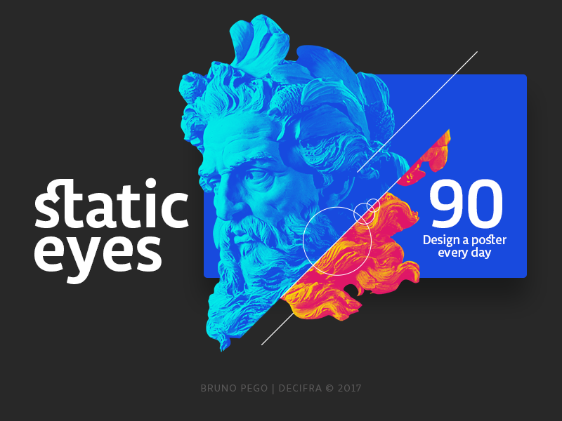 ☝ static eyes ☝ 90 days, 90 posters • Design a poster every day portfolio brazil sculpture typography type poster duotone gradient freelance design colours 2017