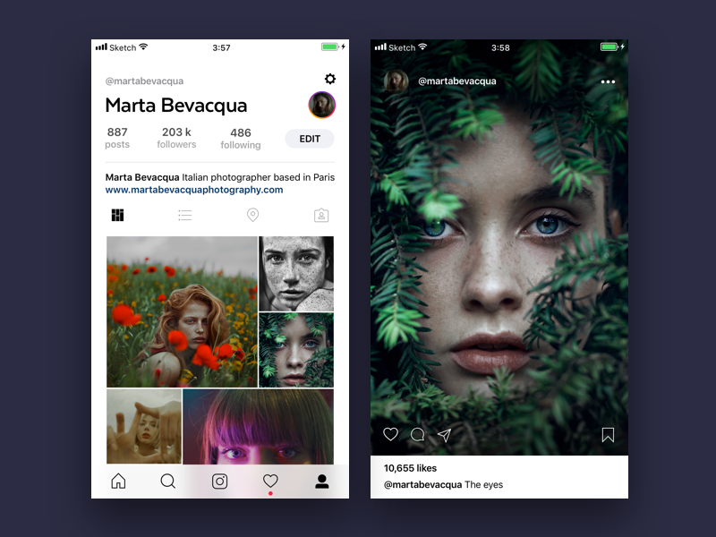Instagram app concept 📷 app fluent photo instagram mobile ui ux app store apple ios11 sketch app