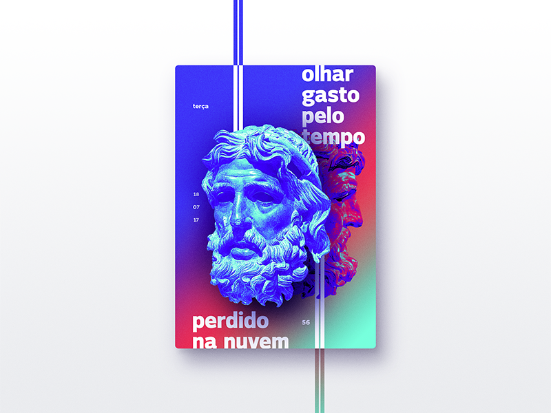 ☝ static eyes☝ #56 • olhar gasto pelo tempo perdido na nuvem portfolio sculpture typography type poster duotone gradient freelance design colours 2017 vaporwave
