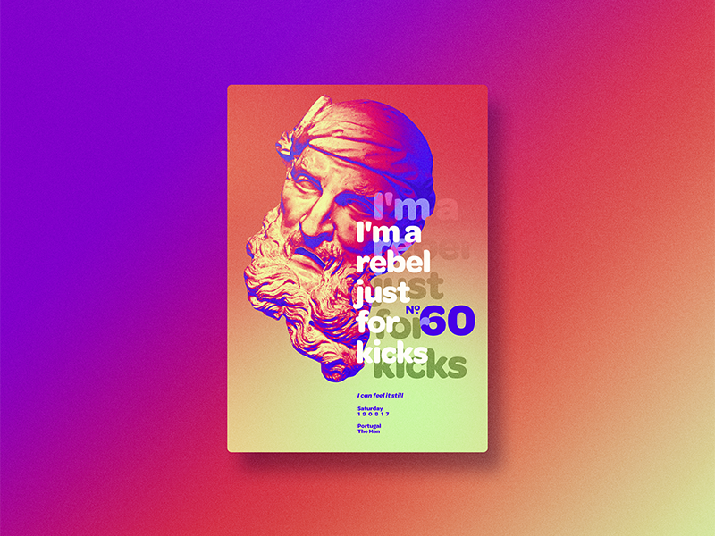 ☝ static eyes☝ #60 • I'm a rebel just for kicks portfolio sculpture typography type poster duotone gradient freelance design colours 2017 vaporwave