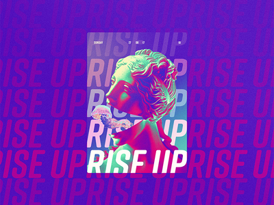 ☝ static eyes☝ #61 • rise up vaporwave 2017 colours design freelance gradient duotone poster type typography sculpture portfolio