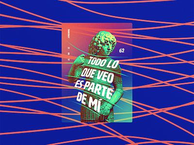 ☝ static eyes☝ #62 • Todo lo que veo es parte de mi portfolio sculpture typography type poster duotone gradient freelance design colours 2017 vaporwave