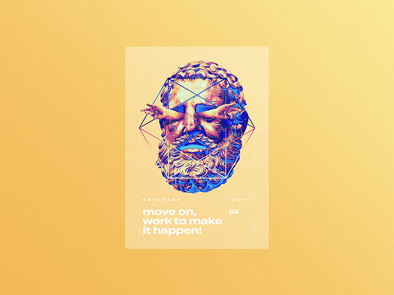 ☝ static eyes☝ #65 • move on, work to make it happen portfolio sculpture typography type poster duotone gradient freelance design colours 2017 vaporwave