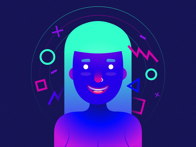 Status Quo character woman girl icon illustration flat ui ux sketch art design trend