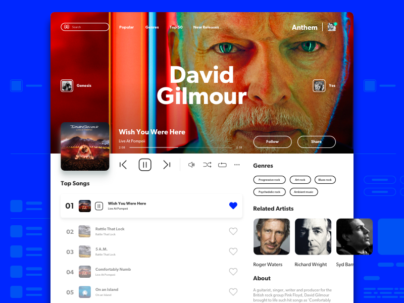 Music UI ui design product web spotify playlist player play music landing artist album