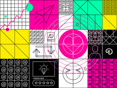 default web product design ui pattern trend icons character grid social ux colors