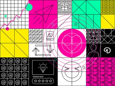 default web product design ui pattern trend icons character grid social ux colors