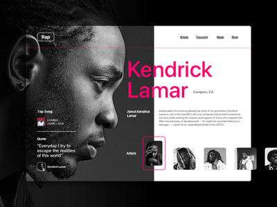 -02- website web design ux ui layout landing page grid music rap color pego kendrick lamar