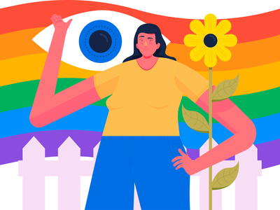 pride beyond the fence colours design vector flower eye rainbow pride graphics lgbt fence flag illustration gay pride gay character design