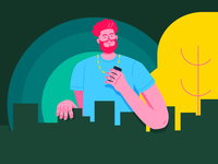 boy with a phone town city green colours design man portrait phone minimalism illustration redhead graphic boy drawing character art