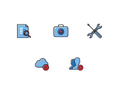 Icons for Health Monitoring Tool  repair file red blue search cloud tool monitoring health icons