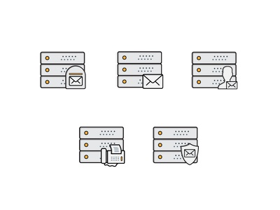Mail Server Icons stack edge fax mailbox user icons server mail
