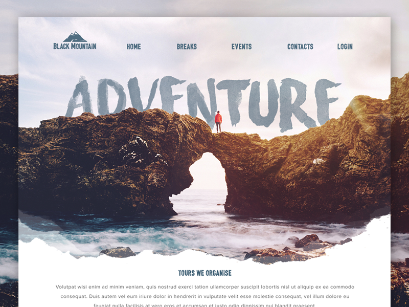 Landingpage For a Adventure Travel website outdoors nature layout ui retro interaface mountains hiking surfing website travel adventure landingpage