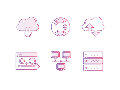 Line Icons for a upcoming project  global plugins networking cloud server monitoring icons