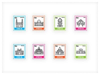 Stamps of India hydrabad bangalore mumbai kolkata delhi chennai icons india stamps
