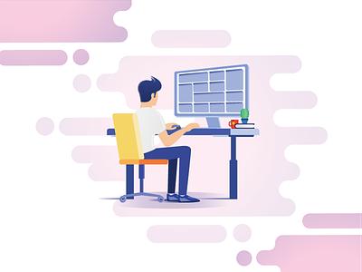 Office Desk and Dashboard work imac coffee cactus ux ui office men illustration design computer
