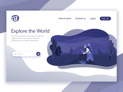 Header Illustration For Blotch texture gradient character blue website noise magic page landing illustrator illustration header