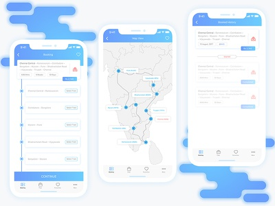 CJT Booking And Map Screen blue map travelling train ticket sketch modern minimal indian eticket circulat booking