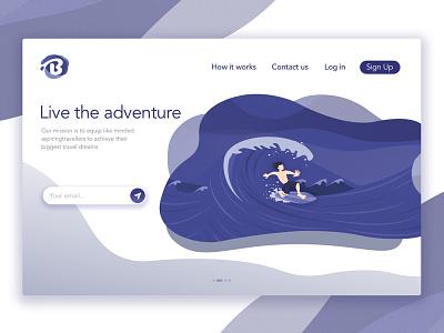 Header Illustration For Blotch - Adventure website waves texture sea boy surfing noise landing illustration header character blue