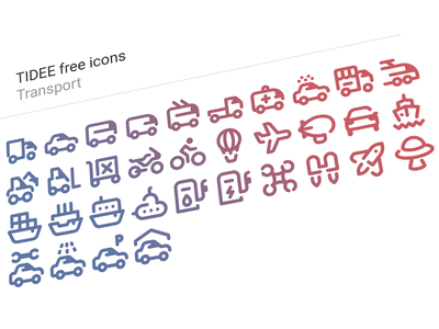 Tidee transport icons free fuel station jetpack baloon zeppelin lorry truck logistics train ufo bycicle parking shipping steamboat boat shop business plane car transport tidee